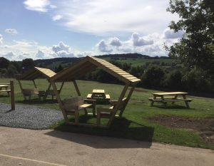 Picnic pods overlooking the countryside