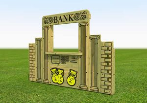 Childrens play wooden bank counter