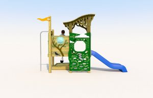 A wooden play tower with blue plastic slide