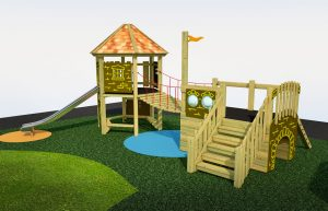A wood built play tower with steel slide