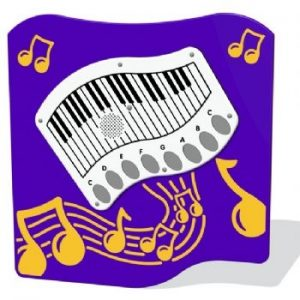 A piano shaped play panel for childrens play