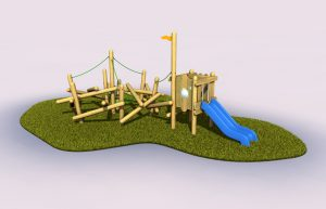 Side view of childrens play pole climber and tower