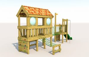 A play tower with rope nets for children