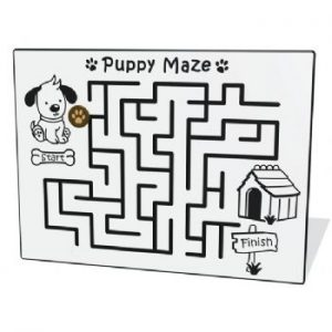 A puppy maze play panel for playgrounds