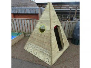 Side view of the wooden tepee in school playground