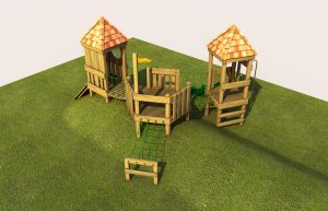 A wooden play tower for young children