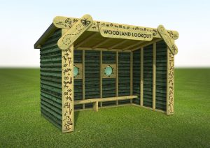 A woodland lookout shelter
