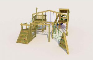 A playground wooden tower