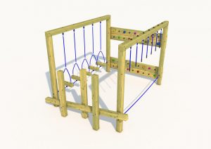 A wooden adventure climber with ropes