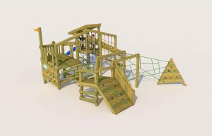 A playground wooden tower with climbing ramp