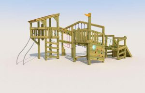 A playground wooden tower with rope walks