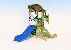 Wood built play tower with short slide