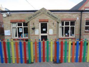 Coloured pencil fencing at primary school