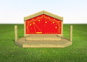 Childrens play wooden stage front view
