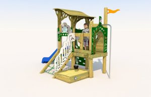 A wooden play tower with sandpit