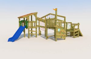 A play tower with climbing ramp for children