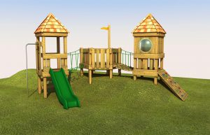 A wooden play tower with green slide