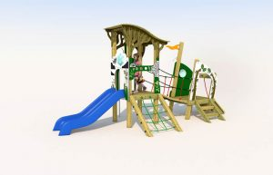 A wooden play tower with plastic slide