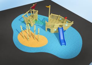 A wooden play boat for children's play area