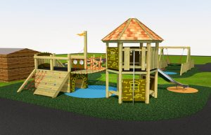 A wood built play tower with bridge