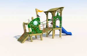 A wooden play tower with bridge