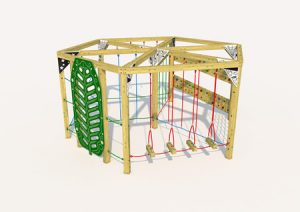 Hexagonol wooden play climber