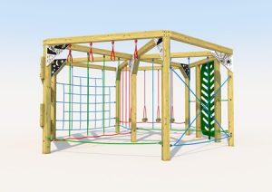 Hexagonol wooden play climber for children