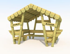 Wooden farm themed playhouse side view