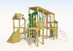 Wooden play tower with climbing ramp