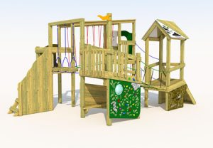 A wood built play tower for children