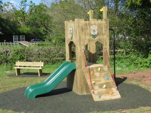 Wooden play tower in playground