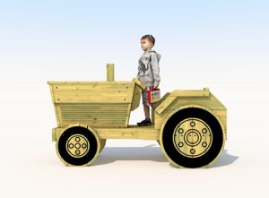 Wooden play tractor for kids