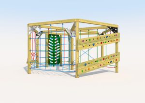 Carousel play climber built from wood