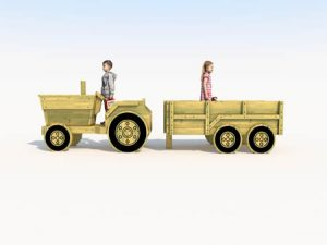 Themed play wooden tractor with trailer