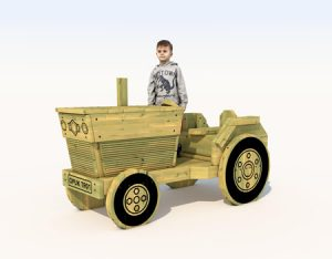 Wooden play tractor for children