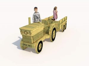The front of the childrens play wooden tractor