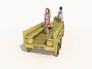 The back of the childrens play wooden tractor