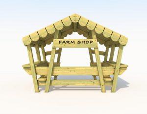 Wood farm themed playhouse