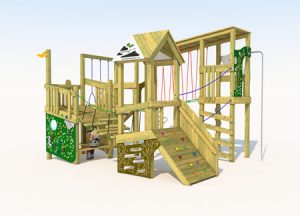Wooden play tower with rope swing