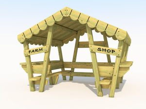 Wooden farm themed play house for kids