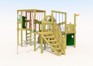 A wood built play tower for kids