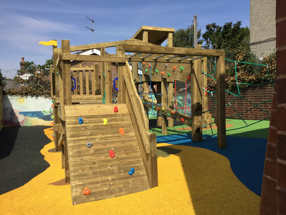 Colourful safety surfacing in school play area