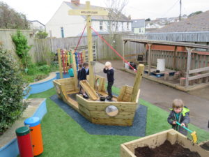 Wooden play boat for children