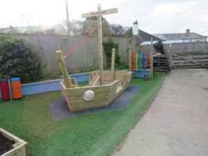 Wooden play ship for children