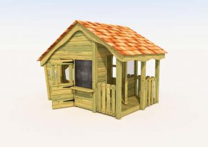 A wooden play lodge for children