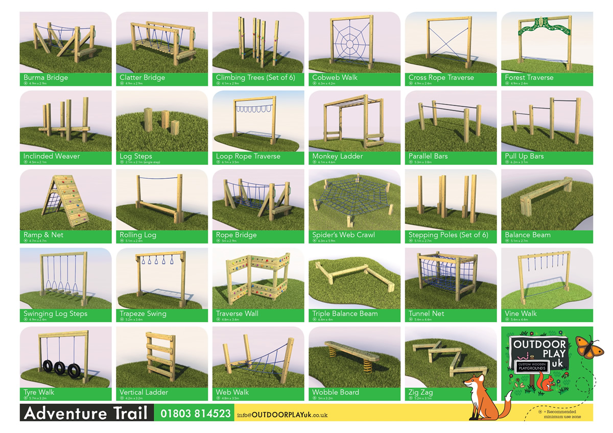 Images of adventure trail equipment for play areas