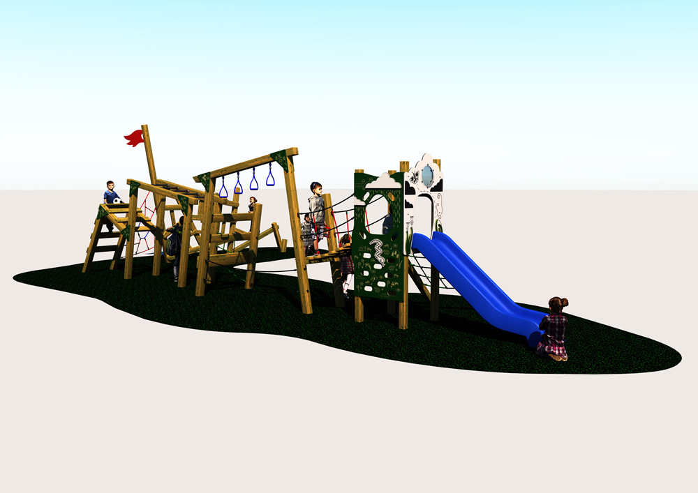 Outdoor play trim trail for children showing equipment