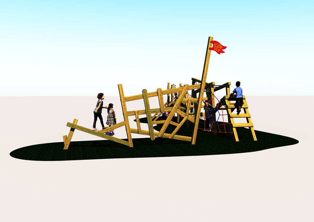 A trim trail for school paygrounds showing wooden play equipment