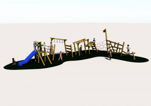 An outdoor adventure trim trail for childrens play areas