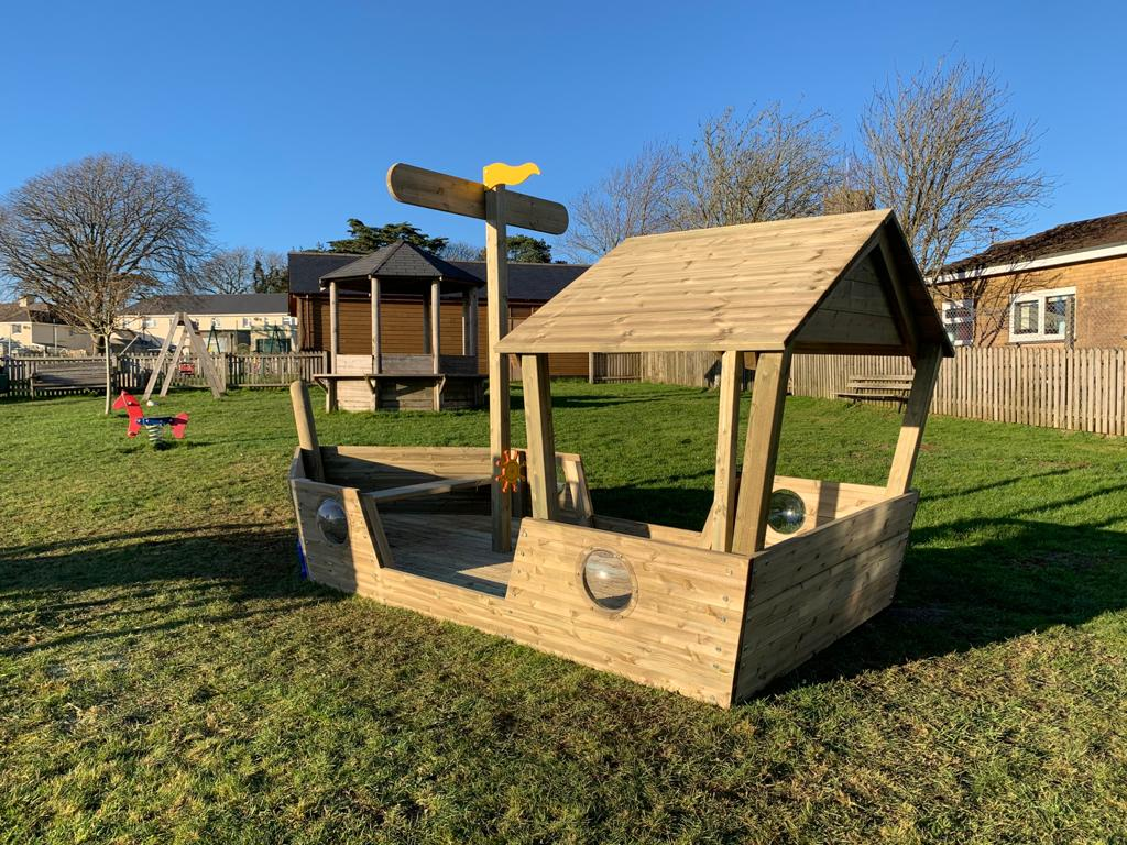 HMS Ipplepen play boat installed in alocal outdoor play park